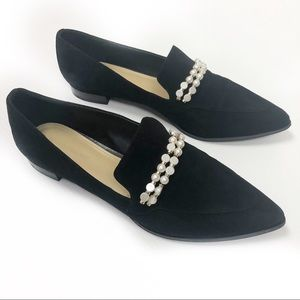 Marc Fisher Black Suede Kneel Faux Pearl Loafers